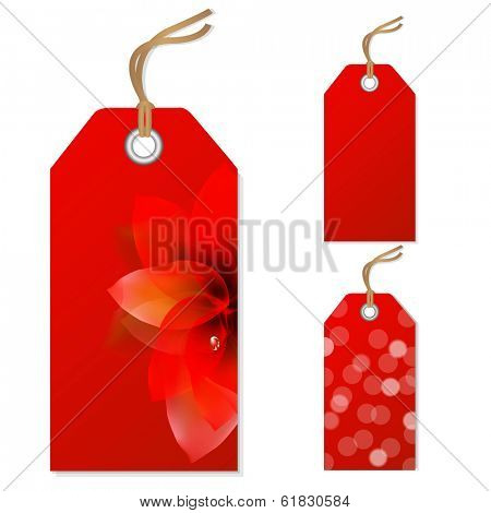 Red Sale Tags Set, Vector Illustration