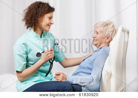 Elderly Woman And Her Nurse