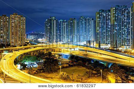 traffic , aerial view of the city overpass at night, HongKong,Asia China
