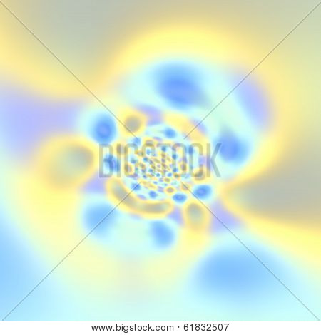 Abstract Fractal Blue Yellow Bright Cloud Opening