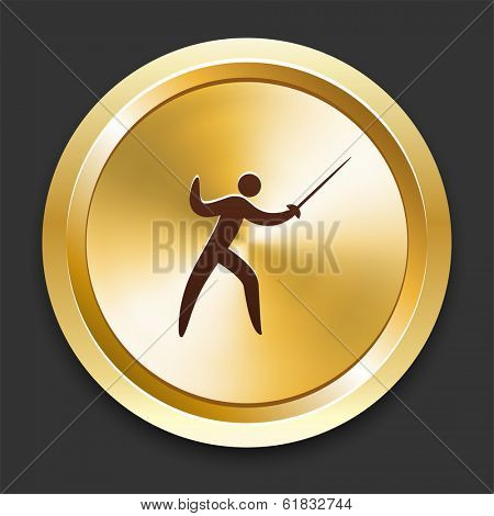 Fencing Icons on Gold Button Collection