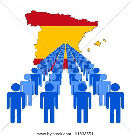 Lines of people with Spain map flag vector illustration