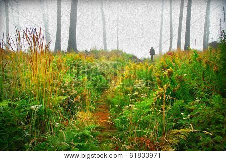 Stylized Rendering Of A Lonely Man Walking Through The Forest