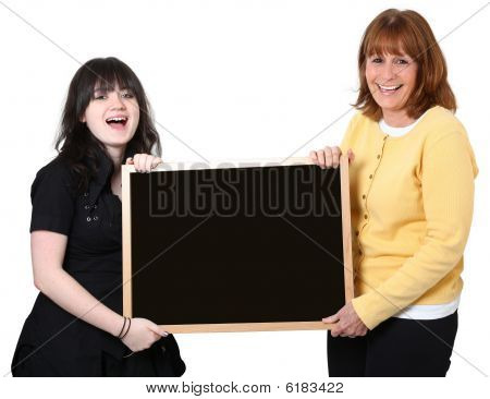 Teacher And Student With Chalkboard Over White