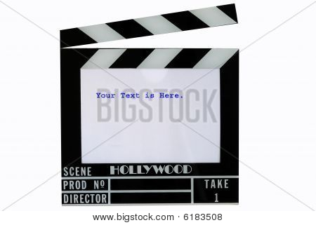 A Hollywood movie clapper board (Clap slate), isolated in white