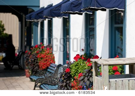 Front Of A Restaurant With Flowers And Benches