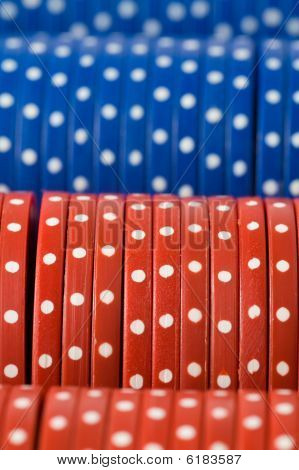 Closeup Of Poker Chip Rows