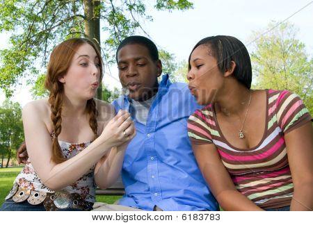 Three Teenage Friends Blowing On Dandelion