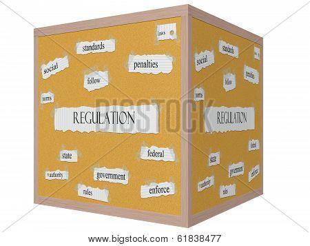 Regulation 3D Cube Corkboard Word Concept
