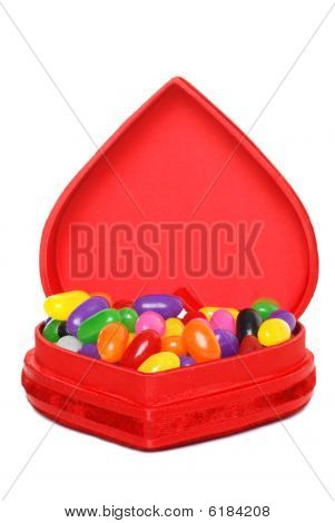 Jelly Beans In A Red Heart Box