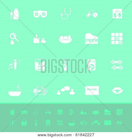 Wellness Color Icons On Green Background