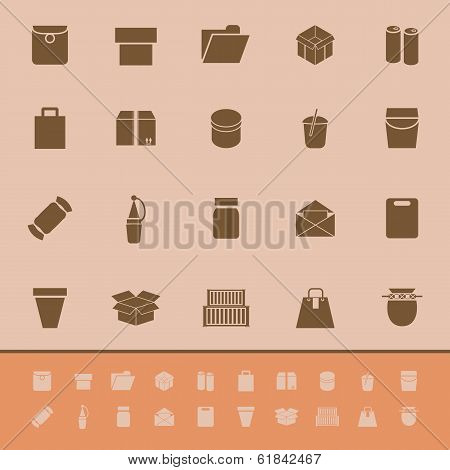 Package Color Icons On Brown Background