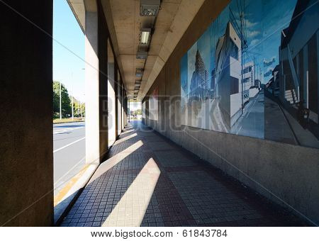 Tokyo, Japan - November 23, 2013: Urban Art tunnel with the nobody around Roppongi district