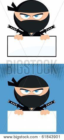 Angry Ninja Warrior Character Over Blank Sign Flat Design  Collection Set