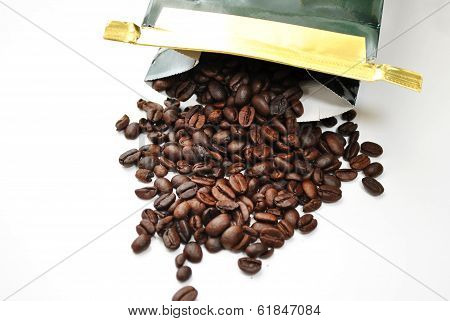 Opened Bag Of Coffee Beans