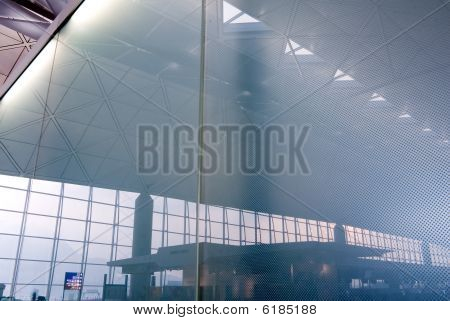 Morning Scene From The Glass Reflection In The Airport