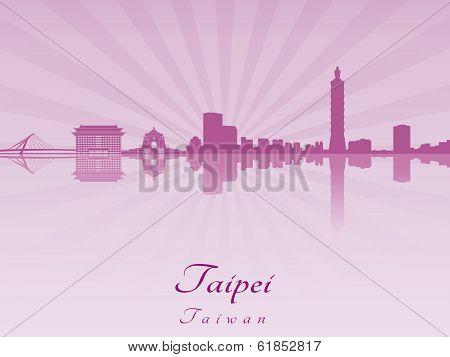 Taipei Skyline In Purple Radiant Orchid