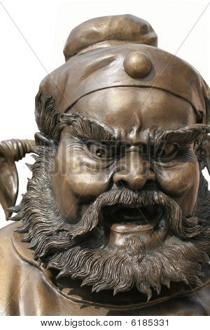 Bronze statue of furious chinese man
