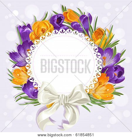 card with wreath of yellow and purple crocuses