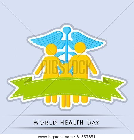 World health day concept with family and medical symbol caduceus on grey background, can be use as flyer, banner or poster.