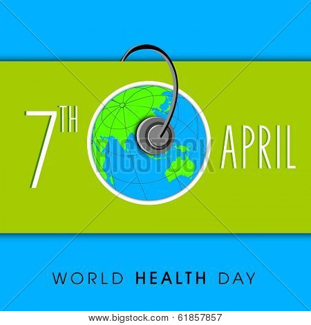 World health day concept with stylish text 7th April, globe and stethoscope on green and blue background.