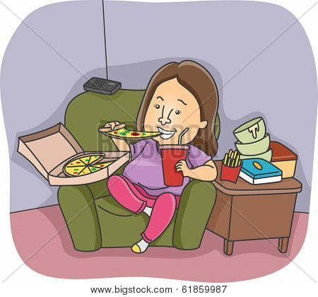 Illustration of an Overweight Woman Going on an Eating Binge