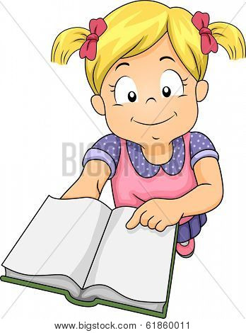Illustration of a Little Girl Holding a Book and Asking Someone to Read Her a Story