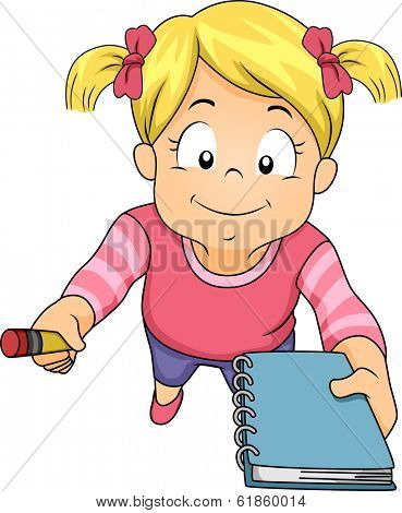 Illustration of a Little Girl Holding a Pencil and Notebook and Asking Someone to Write Something for Her