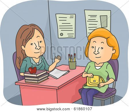 Illustration of a Parent and a Teacher Having a Talk at the Teacher's Office