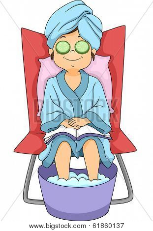 Illustration of a Little Girl in Robe Relaxing at a Spa