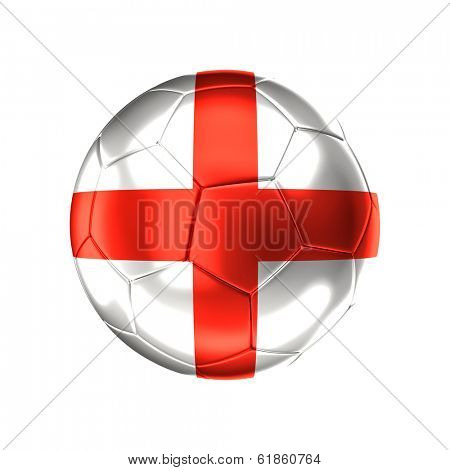 3d soccer ball with england  flag isolated on white