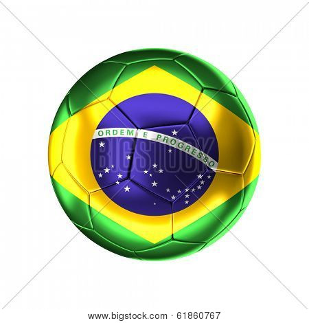 3d soccer ball with brazilian   flag isolated on white
