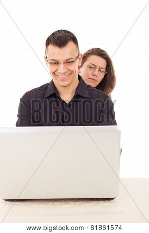 Women Spying On Men While Chatting Over The Internet