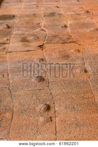 Block Wall With Protrusions Background, Brick Texture