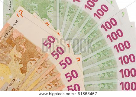 Paper To Euro Currencies Fan On White Background