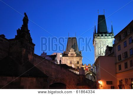 Praha, Lesser Town Towers At Night