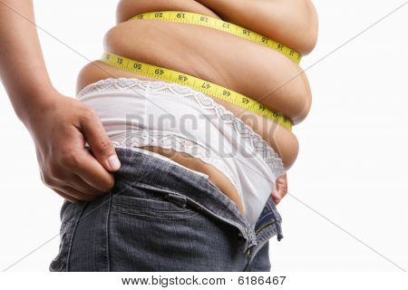 Fat Woman Trying To Wear Tight Jeans From Side