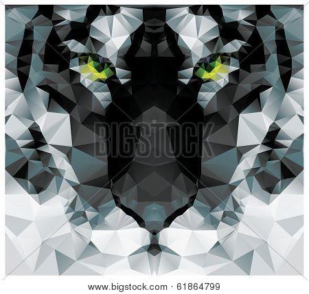 Geometric polygon white tiger head, triangle pattern design, vector illustration