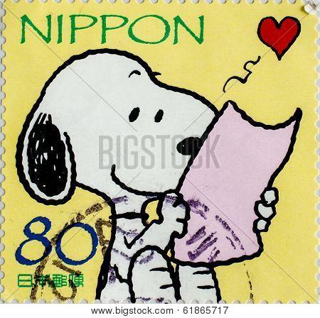 JAPAN - CIRCA 2000: A stamp printed in japan shows Snoopy, circa 2000