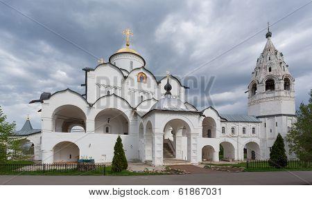 Pokrovsky Cathedral with a belltower in Sacred Pokrovsky a female monastery in Suzdal, the Vladimir