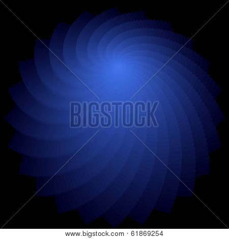 Rotation shape. Abstract deep blue backdrop. Vector art. No gradient.
