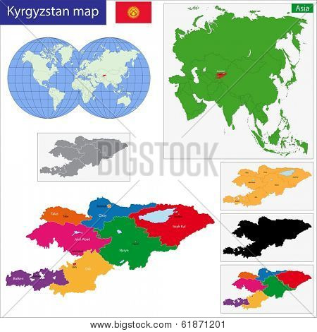 Map of administrative divisions of Kyrgyzstan