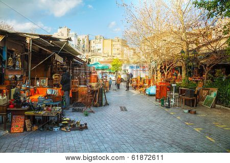 Flea Market With Tourists In Athens, Greece