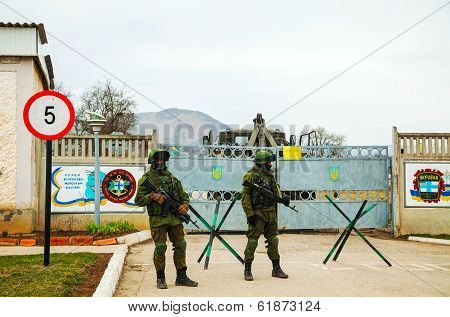 Russian Soldiers Guarding An Ukrainian Naval Base In Perevalne, Crimea