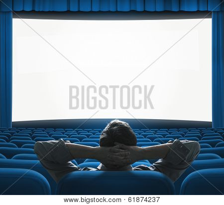 Exclusive movie preview on big screen. Blue VIP cinema auditorium. Art house concept.