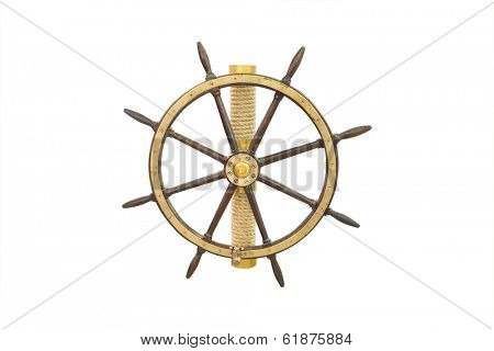 steering control of a ship  under the white background