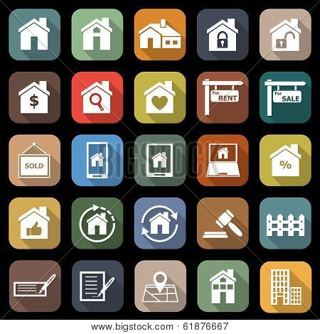 Real Estate Flat Icons With Long Shadow