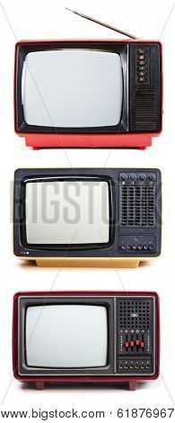 Vintage Television sets isolated on white background