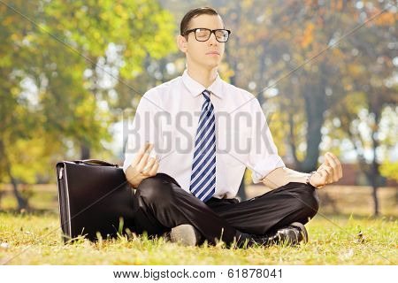 Young businessperson seated on a green grass meditating in a park on a sunny day