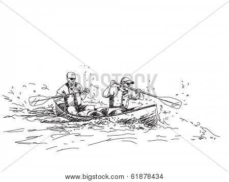 Vector sketch Summer sport canoe with two people